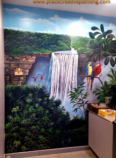 Kaieteur Falls Mural on wall Acrylic on Canvas Prack Creative