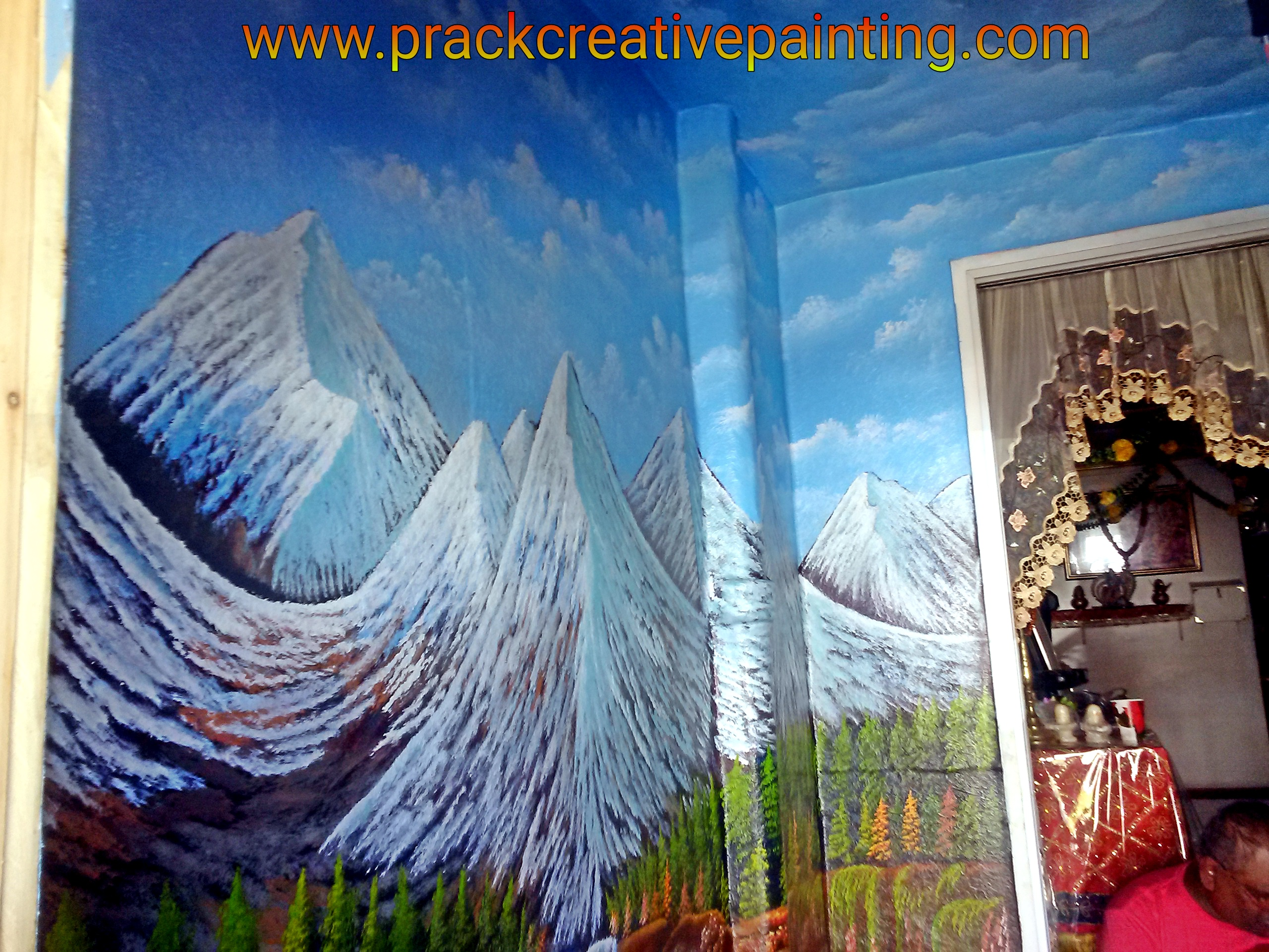 3d art lord shiva mural prack creative painting for Creative mural art